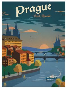 Vintage Prague Poster by IdeaStorm Media for sale here http://ideastorm.bigcartel.com