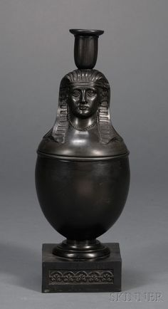 BASALT EGYPTIAN STYLE JAR WITH LID (CANDLE HOLDER)  c 1800