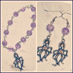 Silver #octopus and lilac crackle bead bracelet by TadeudzCreations, £10.50 http://tadeudzcreations.bigcartel.com/product/matching-set-octopus-bracelet-earrings