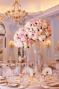 blig and tall pastel roses wedding reception centerpieces | Deer Pearl Flowers