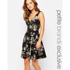 Paper Dolls Petite Plunge Back Prom Dress With Metallic Floral Print ($99) ❤ liked on Polyvore featuring dresses, black, floral dress, prom dresses, fit & flare dress, v neck dress i black v neck dress
