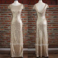 Gold Bridesmaid DressesDrape Down Backless Evening by DesignBridal