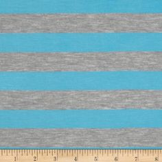 Rayon Blend Jersey Knit Stripes Neon Blue