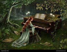 Forest Piano by Esmira on deviantART ~ digital art fantasy