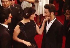 Laura Pausini greeting Gianluca, at the 2014 Latin Billboard Awards⭐️IL VOLO⭐️ who performed as her guests at Madison Square Garden, NYC ~