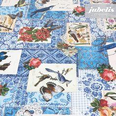 jubelis® Retro Wachstuch Patchwork Stil Design Bianca mit Schmetterlingen, Vögeln und Rosen