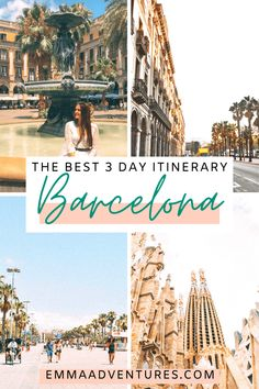 The best 3 day Barcelona itinerary! The best 3 day itinerary for Barcelona, Spain. All the best things to see and do, where to eat and drink, plus where to stay & Barcelona travel tips! Read it now! Spain Travel Guide, Europe Travel Tips, Travel Advice, Travel Destinations, Travel Guides, Time Travel, Travelling Europe, Travel Goals, Travel Bag