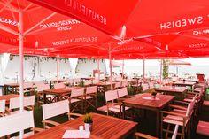 The external terrace of Seventa Events summer pop-up facing #Bournemouth beach