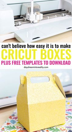 How to Make & Assemble Beautiful Boxes with your Cricut + Free Templates Learn how to make beautiful gift boxes with your Cricut Maker or Explore! They are so pretty and ideal for small gifts. Diy Gift Box Template, Paper Box Template, Origami Templates, Drawing Templates, Small Gift Boxes, Small Gifts, Making Gift Boxes, Cricut Craft Room, How To Make Box