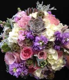 Lovely Blush, Lavender and Ivory Bridal Bouquet - Hydrangeas - Stock - Succulents - Hens and Chicks - Gray - Dusty Miller - Roses - Garden Roses - Old English Roses - Knoxville TN Florist - Lisa Foster Floral Design - www.lisafosterdesign.com