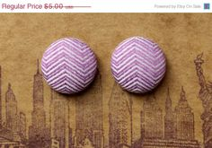 Birthday SALE Button Earrings / Purple / Chevron by ManhattanHippy, $3.75
