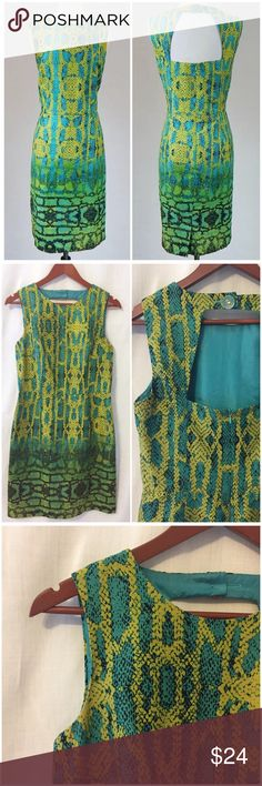 """MUSE Green Snake Print Sheath Open Back Dress 10 MUSE Green Snake Print Fitted Sleeveless Sheath Open Back Dress  • Size 10 • Very good pre-loved condition, no imperfections • 100% cotton, fully lined • 17.5"""" bust • 15.5"""" waist  • 19"""" hips  • 37.5"""" length • 16"""" Shoulder to Waist  • 21"""" waist to hem Muse Dresses"""