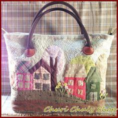 Village Applique Tote Bag