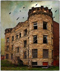 Brush Park, Detroit Detroit Ruins, Abandoned Detroit, Old Abandoned Buildings, Abandoned Mansions, Old Buildings, Abandoned Places, Beautiful Ruins, Beautiful Places, Ghost Towns