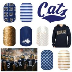 Montana State Jamberry Nail Wraps - get ready for some Bobcat football! These wraps are easy to apply, don't require drying time, and will last up to 2 weeks on your fingernails! www.erincorry.jamberrynails.net