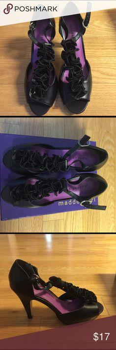 "NIB Madden shoes Black ruffle vamp platform peep toe t-strap shoes.  4"" heel with .5"" platform Madden Girl Shoes Heels"