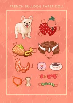 French Bulldog paper doll * 1500 free paper dolls at Arielle Gabriel's The International Paper Doll Society for paper doll pals at Pinterest *
