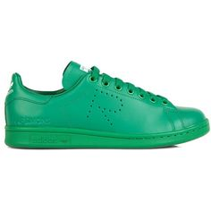 Raf Simons X Adidas Stan Smith leather trainers (2.295 DKK) ❤ liked on Polyvore featuring shoes, sneakers, green, perforated leather sneakers, adidas footwear, green shoes, green sneakers et adidas shoes