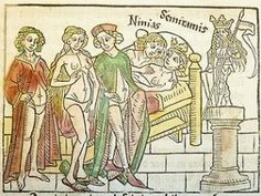 Woodcut from 1474, Boccaccio's Famous Women.  1474.  Late 15th century. - shows women in underpants