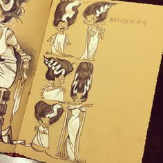 Day 18! #inktober #inktober2014 #20minuteexercise #sketches #sketchbook #instadaily #instasketch #BRIDEOFFRANKENSTEIN