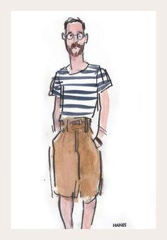 """I've seen the future, and they're high waisted, pleated shorts."" Illustration by Richard Haines"