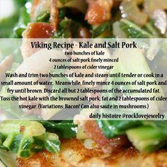 Viking Recipe - Kale And Salt Pork gacomole recipes ; Medieval Recipes, Ancient Recipes, Pork Recipes, Cooking Recipes, Healthy Recipes, Healthy Foods, Vikings, Nordic Diet, Viking Food