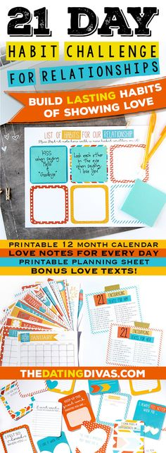 21 Day Habit Challenge Kit for Relationships. Great souple activity.