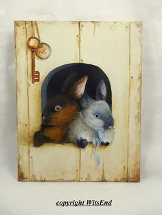 Bunny Rabbits painting original tromp l'oeil art Bunny Hutch Sable and Blue Eyes. by WitsEnd via Etsy