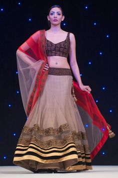 Manish Malhotra nude and red lehenga.