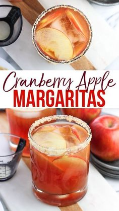 thanksgiving drink This easy cranberry apple margarita recipe is a crowd pleaser! Cranberry juice and apple cider join tequila and a splash of orange juice for a tart, extra fruity spin on a cocktail classic with a golden sugar rim. Thanksgiving Drinks, Christmas Drinks, Holiday Drinks, Christmas Cocktail Party Appetizers, Christmas Holidays, Cocktail Parties, Thanksgiving Appetizers, Thanksgiving Crafts, Thanksgiving Decorations
