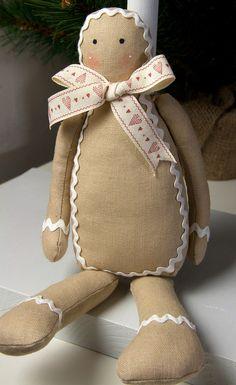 Mr Gingerbread  soft fabric ornament doll
