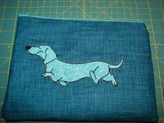 Mini tote bag with smooth-haired dachshund applique by StitchedByShawn on Etsy