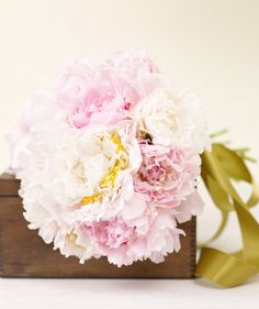 Bouquet of pink peonies (arrangement by Nicolette Camille) via @Real Simple