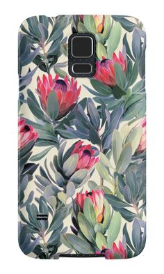 """Painted Protea Pattern"" Samsung Galaxy Cases & Skins by micklyn 