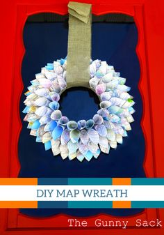 Brighten your front door with this DIY wreath made from a map. The colors are perfect for spring!