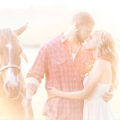 Autumn engagement photos with a horse and apples. Sweet!