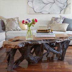 Living Room With Rustic Furniture Coffee Table
