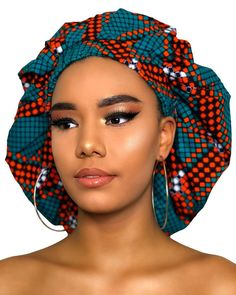 African Hair Wrap, African Head Wraps, African Wear, African Dress, Silk Bonnet, Hair Bonnet, My Hairstyle, Scarf Hairstyles, Baby African Clothes
