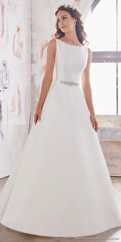 morilee spring 2017 bridal sleeveless bateau neckline simple clean design elegant a  line wedding dress open back chapel train (5516) mv