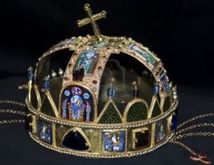 Hungarian Imperial Crown of St Stephen.  This was the coronation crown used by the Kingdom of Hungary for most of its existence. The Crown was bound to the Lands of the Crown of Saint Stephen. No king of Hungary was regarded as having been truly legitimate without being crowned with it. In the history of Hungary, more than fifty kings were crowned with it (the two kings who were not so crowned were John II Sigismund and Joseph II).
