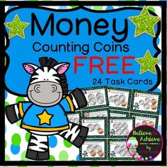 Money- Counting Coins up to a Dollar (24 Task Cards) FREE