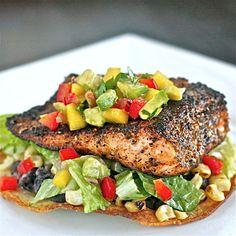 Chili-Rubbed Salmon and Grilled Corn Tostada with Mango Avocado Salsa - The Hopeless Housewife®