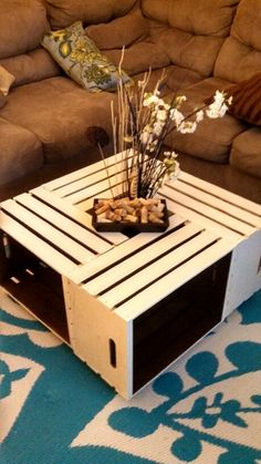 wine crate coffee table and end table. wine crates from michaels