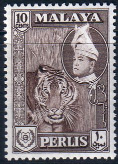 Malay State of Perlis 1957 SG 34 Tiger Fine Mint Scott Other Perlis Stamps HERE