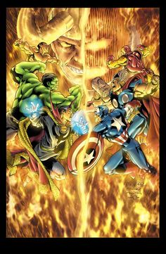 Avengers vs Defenders by Carlos Pacheco. Loki and Dormammu scheme to use the Avengers and the Defenders to unknowingly seek out the scattered pieces of the Evil Eye. Loki to restore his sight,then eventually turn the tables and Dormammu to merge the Earth with his Dark Dimension.  The teams are duped into battling each other to get the parts of the Eye to prevent the other group from assembling the weapon,they each believe,has a dire purpose in mind for the device.  They soon learn their…