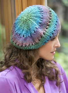 Free knitting pattern for Butterfly Beret uses just one skein of yarn