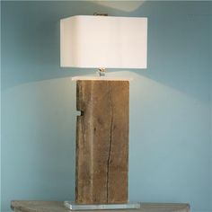 Antique 1828 Barnwood Beam Table Lamp  Reclaimed Wood Beam Table Lamp   Reclaimed lighting is in vogue! Take an antique warehouse beam up a notch with clear acrylic base and smart square white linen shade.