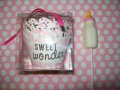Baby girl cupcake wrappers with baby bottle edible topper