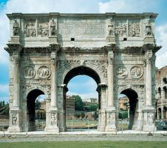 Italy. Arch of Constantine, Rome.  The Arch of Constantine is a triumphal arch in Rome, situated between the Colosseum and the Palatine Hill. It was erected to commemorate Constantine I's victory over Maxentius at the Battle of Milvian Bridge on October 28, 312.
