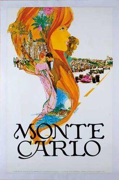 Monte Carlo Vintage travel poster www.varaldocosmetica.it/en olive oil cosmetics from the Riviera #essenzadiriviera